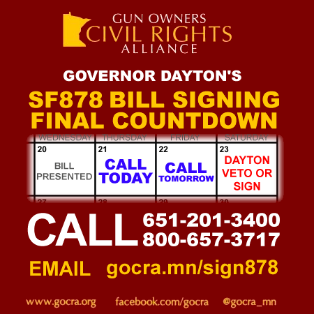 Call 651-201-3400 and tell Governor Dayton to sign SF878